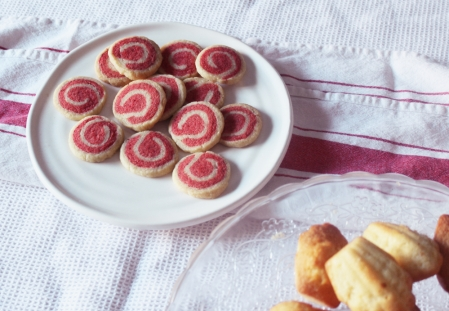 Raspberry shortcrust pinwheel biscuits