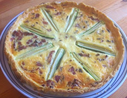 Courgette, cheese and bacon tart