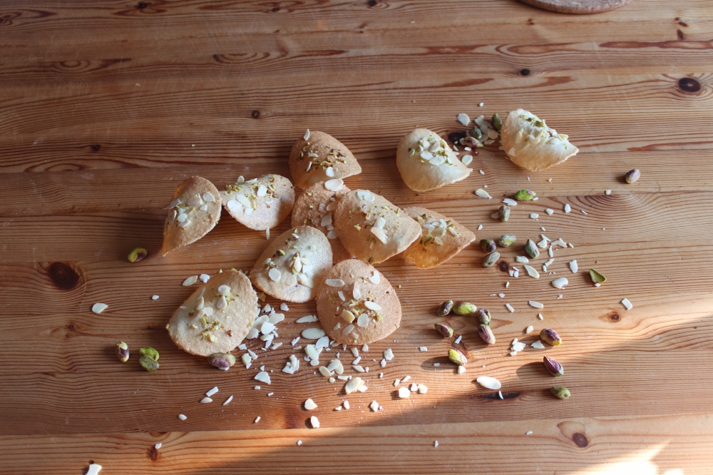 Pistachio and almond tuiles