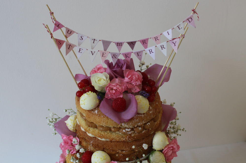 How to construct a three tier naked wedding cake on Ink Sugar Spice | www.inksugarspice.wordpress.com