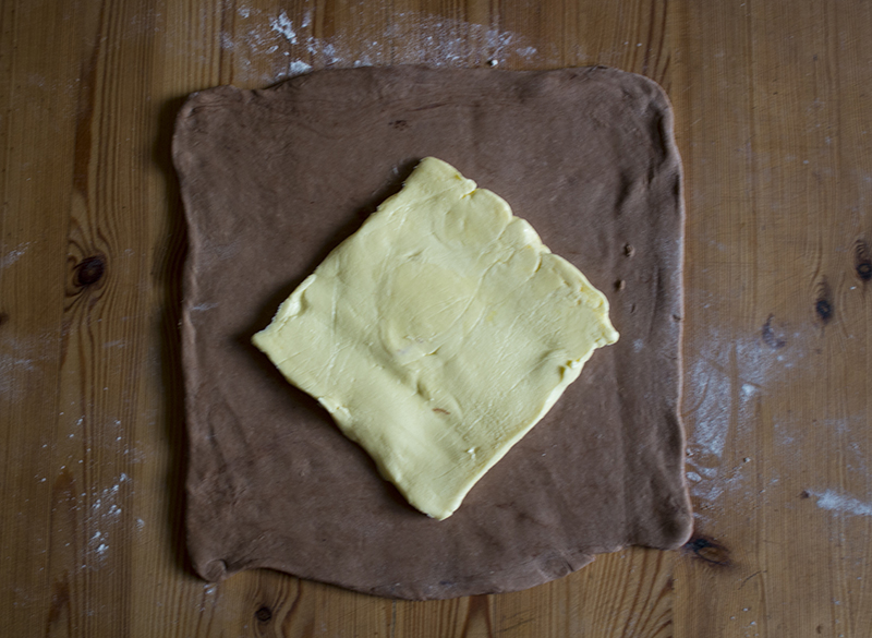 Chocolate puff pastry dough and butter