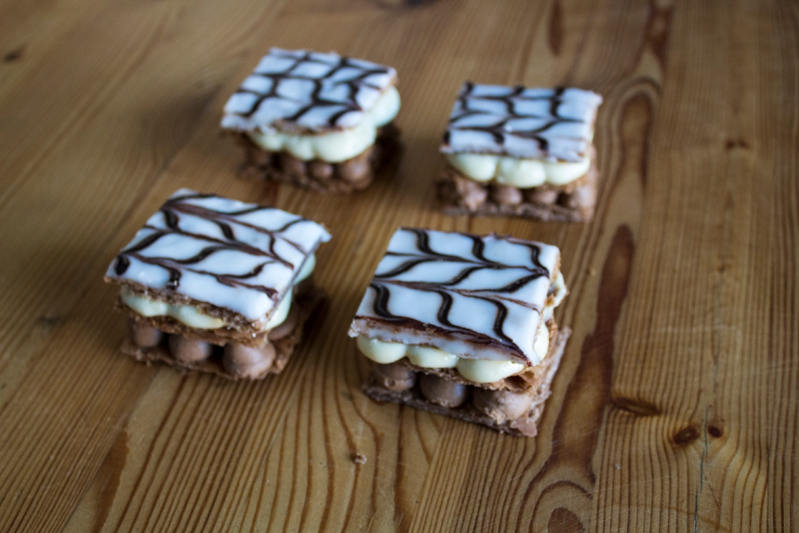 Mille feuille, made with chocolaate puff pastry