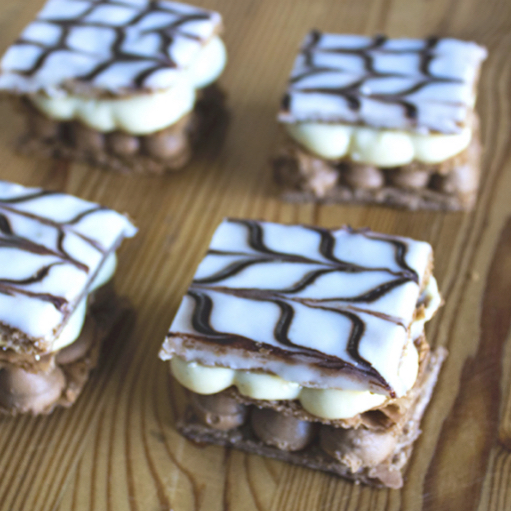 napoleons made with chocolate puff pastry - Ink Sugar Spice