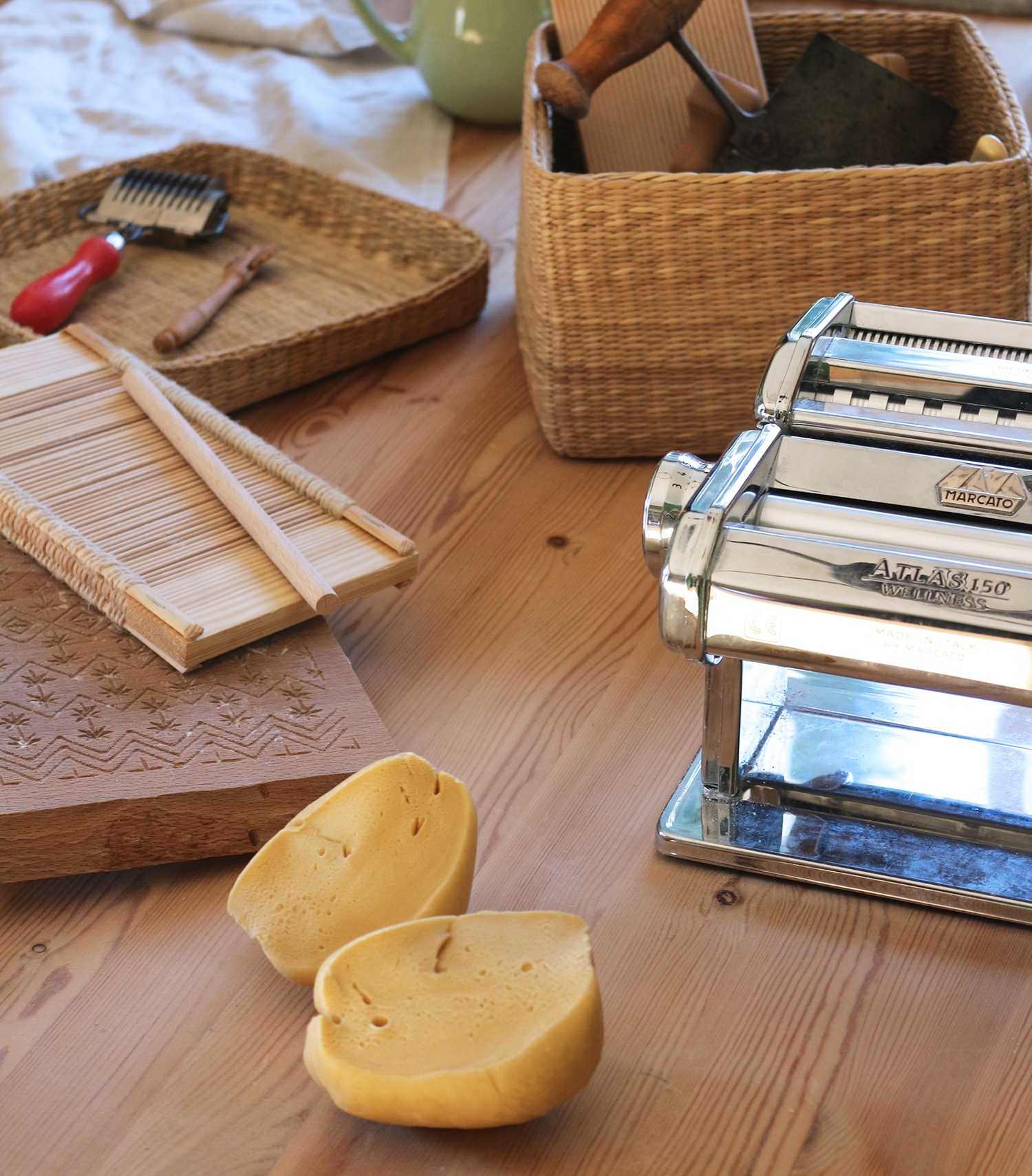 A very small selection of my pasta equipment, some hand made, some bought new, some bought second hand