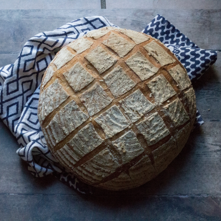stoneground checquerboard cut loaf - simple straight cuts but totally effective