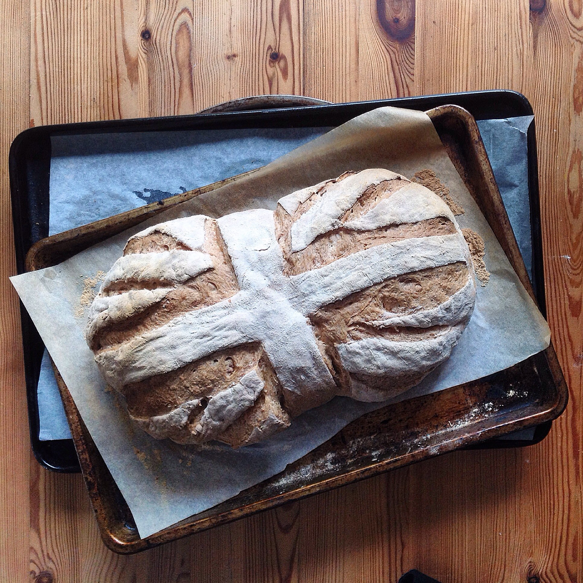 Union Jack slash - this is pretty much my signature bread art! I've posted many loaves with these slash marks on in Instagram