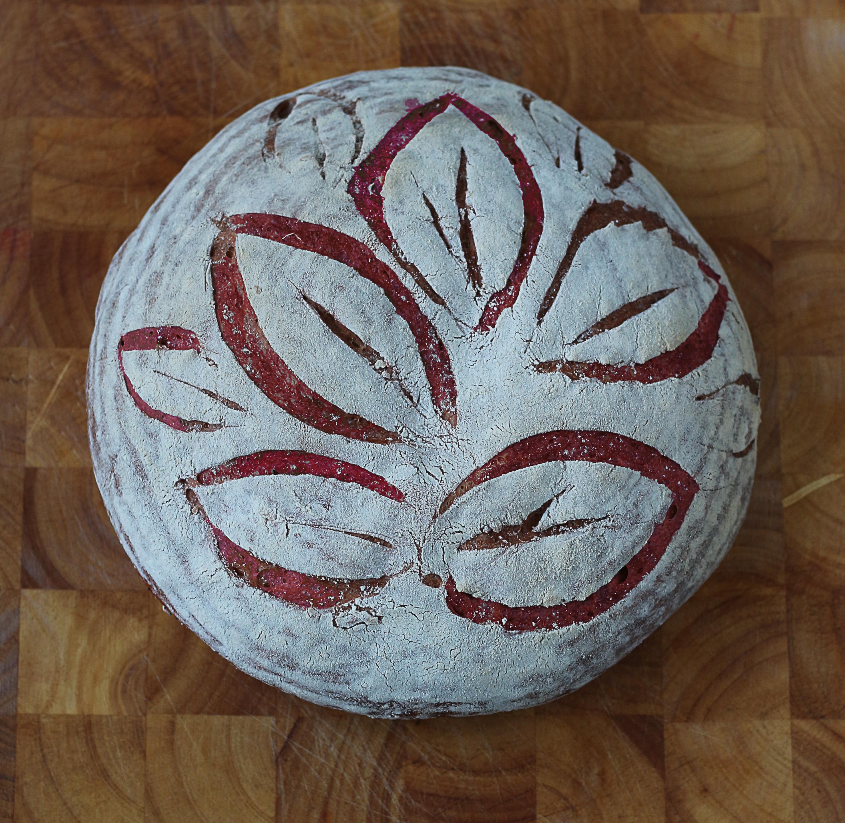 Beet loaf, score with a leaf pattern by Ink Sugar Spice