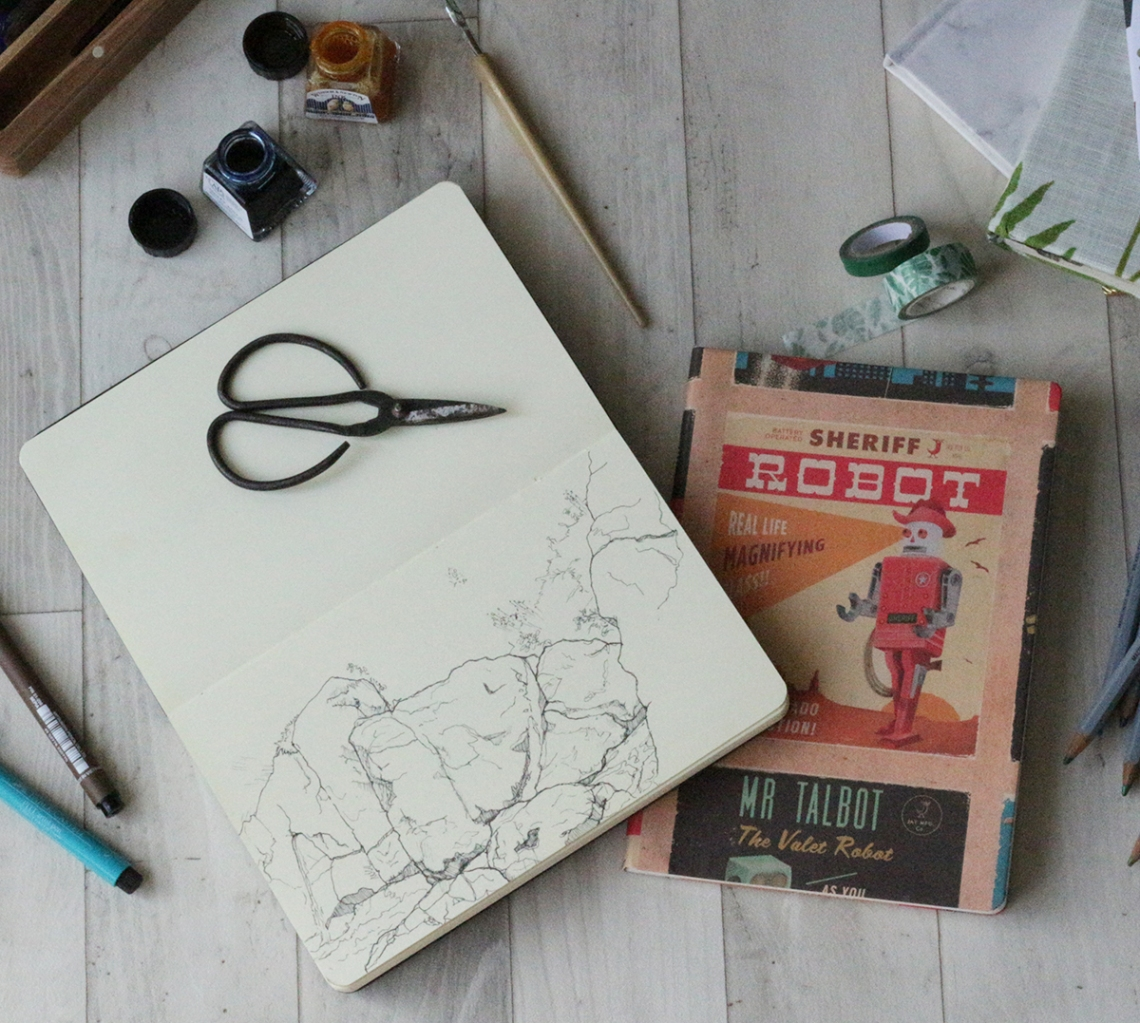 A sketchbook and finalised cover - Covering a sketchbook or Journal on Ink Sugar Spice website