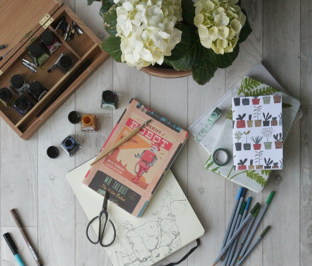 Example sketchbooks and art materials - Covering a sketchbook or Journal on Ink Sugar Spice website