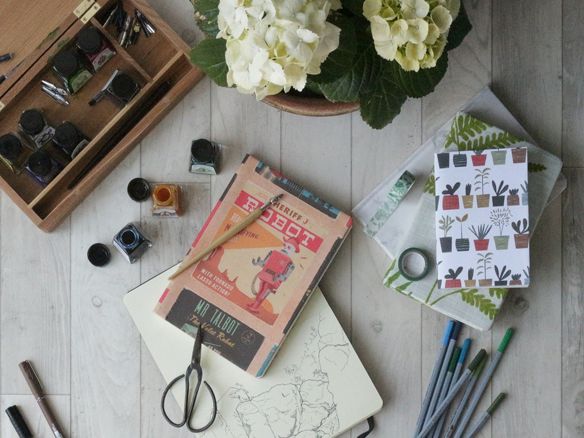 Example sketchbooks and art materials - Covering a sketchbook or Journal on Ink Sugar Spice website