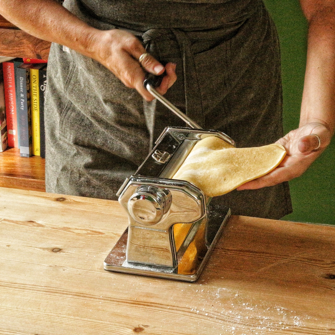 making pasta sheets - copyright image Lynn Clark - inksugarspice
