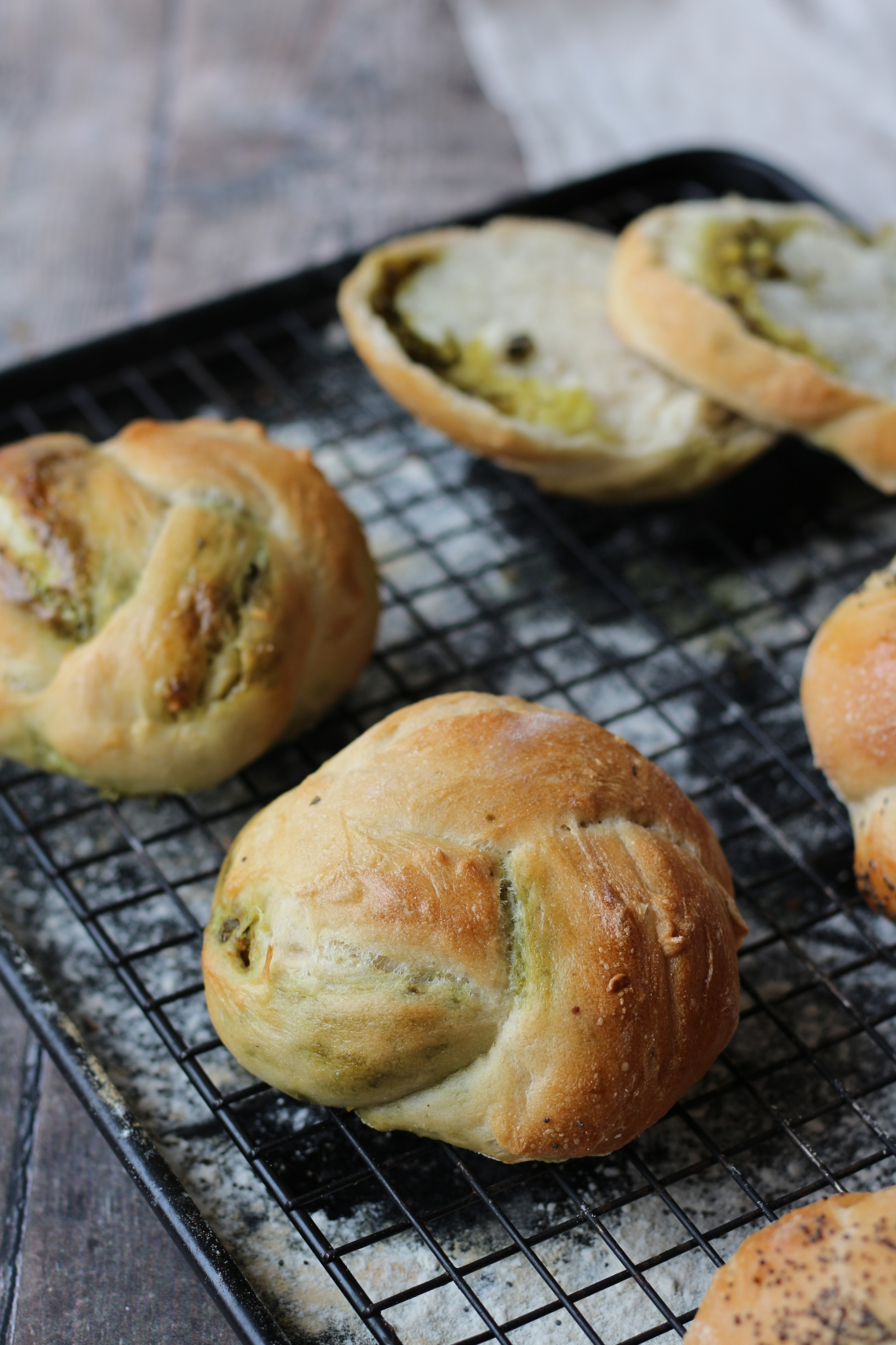 pesto knotted rolls = copyright image Lynn Clark - inksugarspice