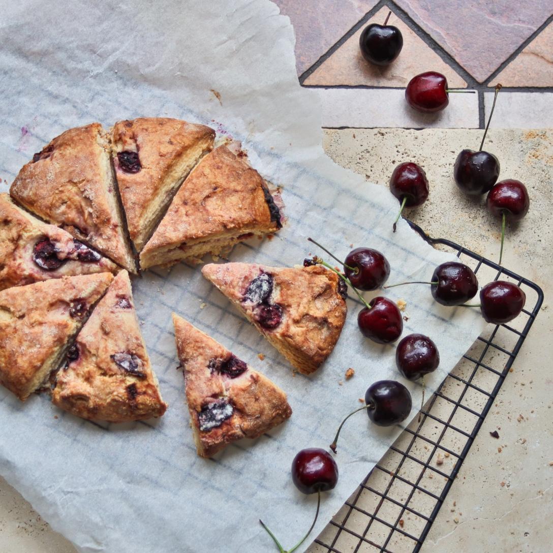 Fresh cherry scones, recipe by inksugarspice #cherry #scones #baking #recipe